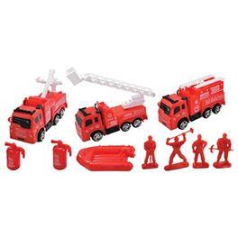 Caja 11 pzas vehículos bomberos y acces - 89815938